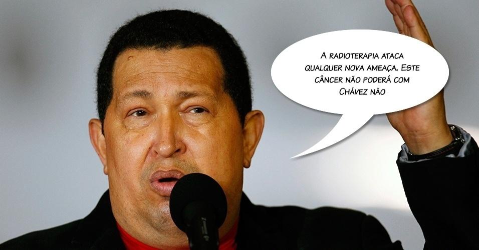 17.mar.2012 - Hugo Chávez em referência ao tratamento que fazia por causa da doença