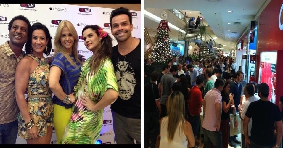 """O Tumblr brazuca """"Fila do iPhone"""" reúne fotos de famosos e pessoas comuns que foram até as lojas nesta sexta-feira (14) comprar o iPhone 5, da Apple. Na foto à esquerda, destaque para a apresentadora Carla Perez"""