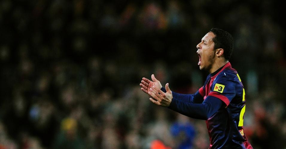 16dez2012 - Adriano comemora gol na vitória do Barcelona, no Campeonato Espanhol