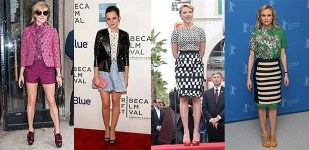 Chloe Sevigny, Emma Watson, Scarlett Johansson e Diane Kruger investem no mix de estampas sem medo