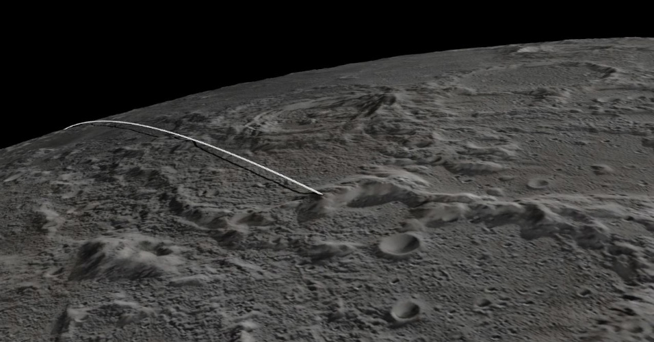 17.dez.2012 - Animação mostra o trajeto do último voo das sondas gêmeas Ebb e Flow, que encerram sua missão após mais de um ano em órbita na Lua para fornecer imagens e dados sobre sua estrutura interna. Segundo a Nasa (Agência Espacial Norte-Americana), os instrumentos científicos já foram desligados e, nesta segunda-feira (17), os satélites vão se dirigir ao cume de uma montanha no polo Norte da Lua, caindo no solo antes de passar ao outro lado do satélite que é invisível para quem está na Terra