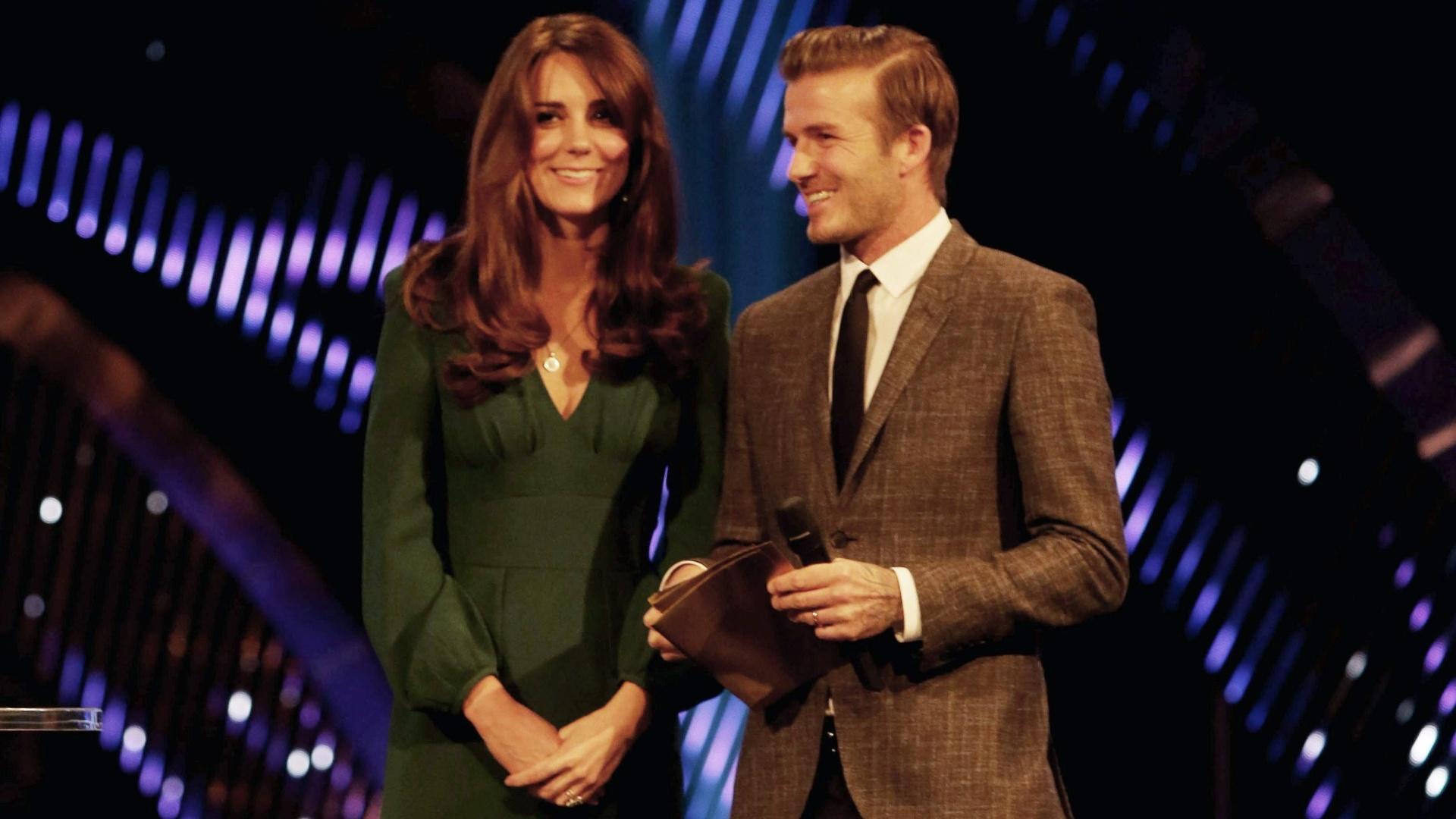 17.dez.2012-A Duquesa de Cambridge, Kate Middleton, e o jogador David Beckham foram os apresentadores da premiação de Melhores Atletas do Ano no Reino Unido