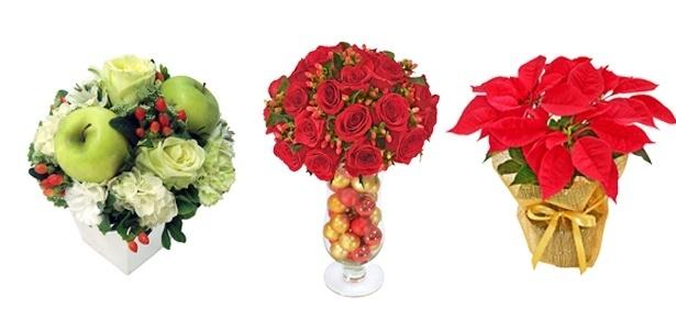 Flores dão vivacidade ao ambiente: frutas e enfeites de Natal podem ser utilizados nos arranjos