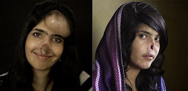 A afegã Aesha Mohammadzai hoje em dia e em 2010, quando foi fotografada pela revista Time