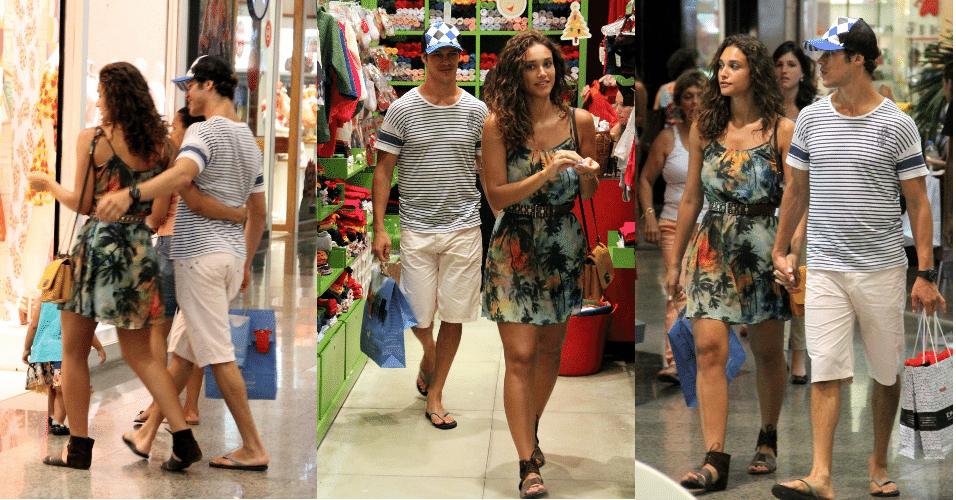 19.dez.2012 - José Loreto e Débora Nascimento vão as compras no Shopping
