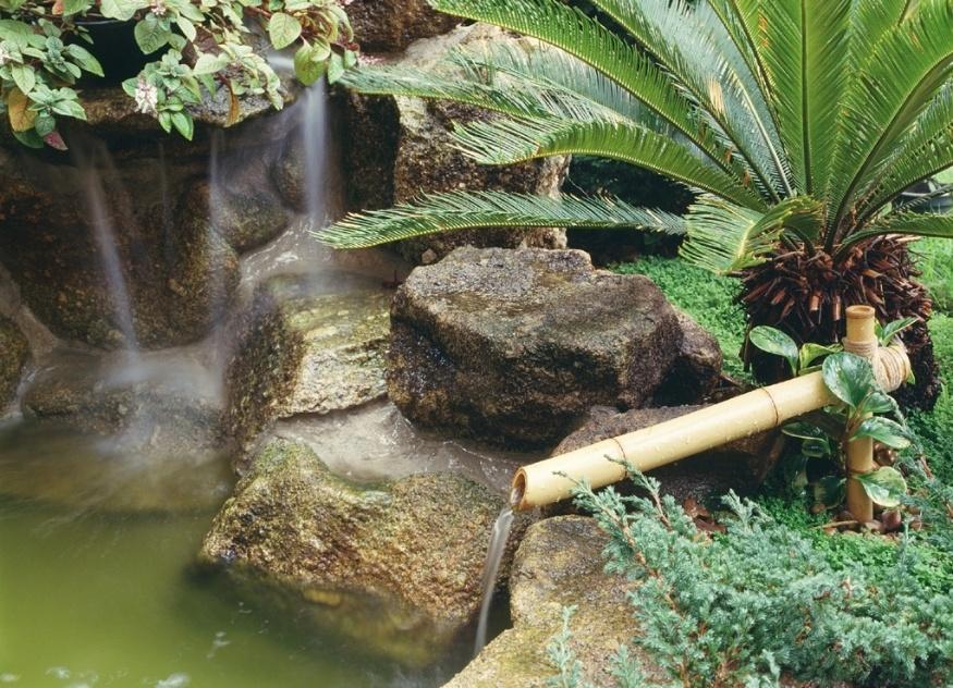 Neste jardim japonês desenvolvido por Eduardo Luppi destacam-se o lago com carpas e a fonte feita com pedras naturais que escondem as bombas para circulação da água. A bica, revestida com bambu, reforça a atmosfera oriental