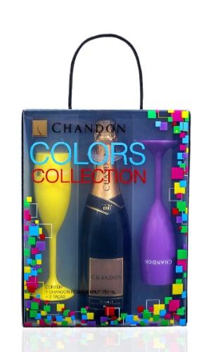 Pack Chandon Collection com uma garrafa de 750 ml e duas taças coloridas, R$ 65, da Chandon (www.chandon.com.br). Preços consultados em dezembro de 2012 e sujeitos a alterações