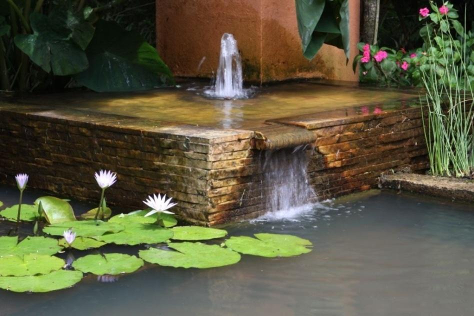 Para essa casa de campo em São Roque (SP), o paisagista Benedito Abbud projetou o Jardim das Tilápias. Criado para ser um local de contemplação, o espaço tem um lago com peixes e uma pequena cascata, que gera um som que estimula a audição e atrai passarinhos e borboletas
