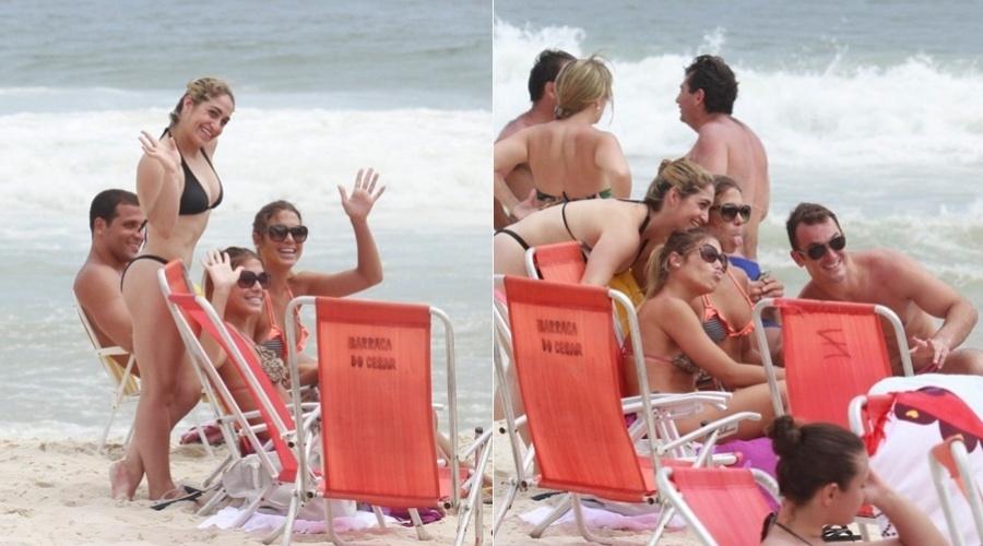 20.dez.2012 - As esportistas Bia Feres, Branca Feres e Danielle Hipólyto foram à praia da Barra da Tijuca, zona oeste do Rio. Diego Hipólyto também esteve no local