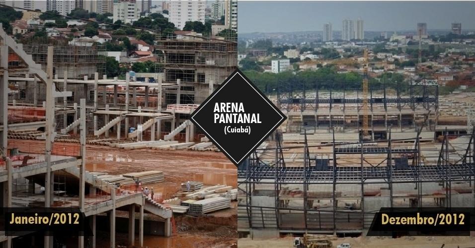 21.dez.2012 - Com pouco mais de 50% das obras prontas, a previsão inicial de entrega do estádio de Cuiabá era para dezembro de 2012. Agora, a expectativa é que a obra fique pronta até julho de 2013.