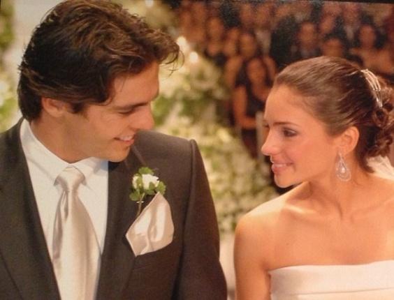 24.dez.2012 - Kaká e a mulher, Carol Celico, no casamento dos dois em 2005; meia postou a foto para celebrar os sete anos da união