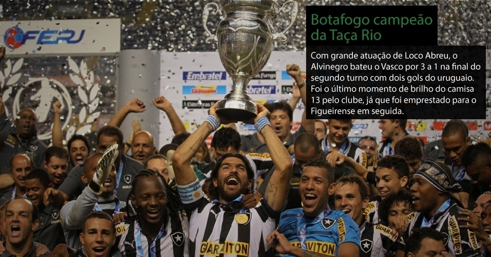 Um dos poucos motivos de comemorao do Botafogo na temporada. Com grande atuao de Loco Abreu, o Alvinegro bateu o Vasco por 3 a 1 na final do segundo turno com dois gols do uruguaio. Foi o ltimo momento de brilho do camisa 13 pelo clube, j que foi emprestado ao Figueirense logo em seguida