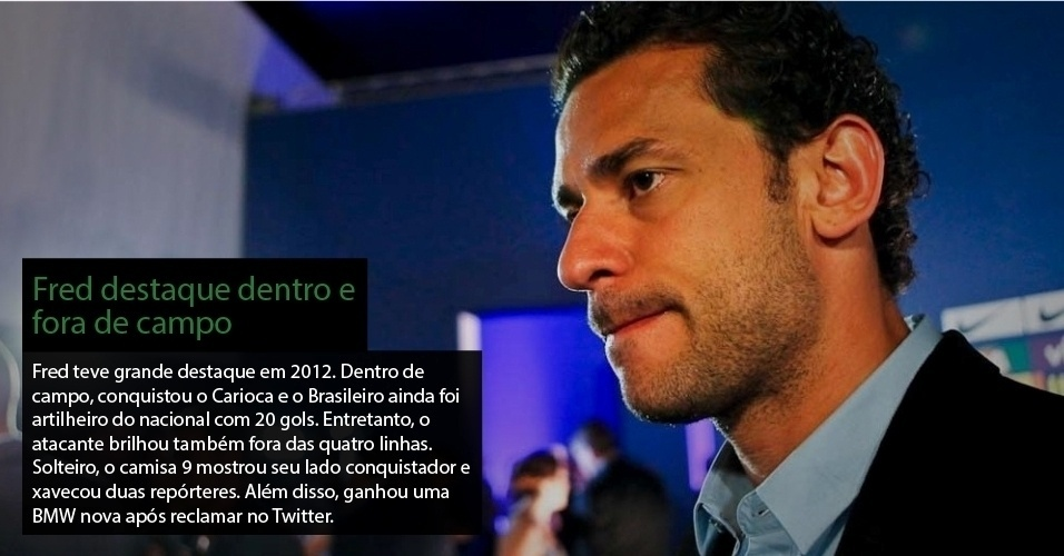 Fred teve grande destaque em 2012. Dentro de campo, conquistou o Carioca e o Brasileiro e ainda foi artilheiro do Nacional com 20 gols. Entretanto, o atacante brilhou tambm fora das quatro linhas. Solteiro, o camisa 9 mostrou seu lado conquistador e xavecou duas reprteres. Alm disso, ganhou uma BMW nova aps reclamar no Twitter. 