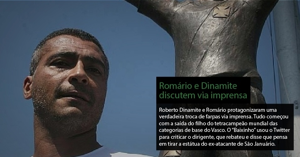 Roberto Dinamite e Romrio protagonizaram uma verdadeira troca de farpas via imprensa. Tudo comeou com a sada do filho do tetracampeo mundial das categorias de base do Vasco. O ?Baixinho? usou o Twitter para criticar o dirigente, que rebateu e disse que pensa em tirar a esttua do ex-atacante de So Janurio. 