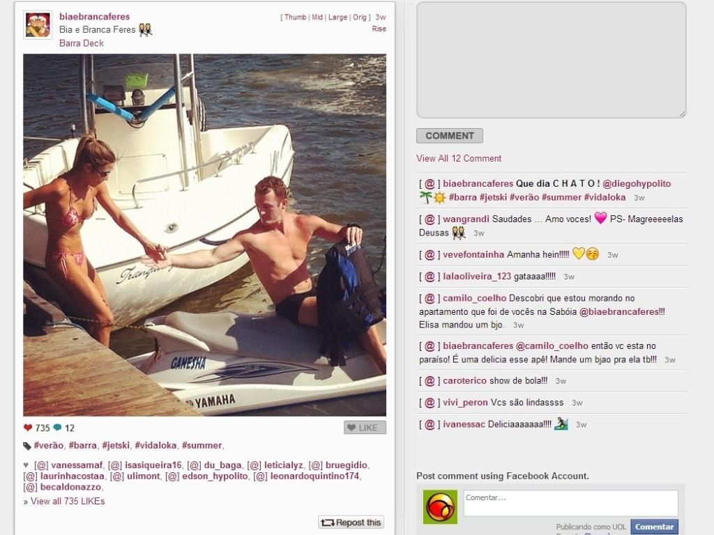 As gêmeas Bia e Branca Feres, do nado sincronizado, também adoram usar o Instagram, como nesse dia em que eles curtiram um passeio de jet ski com Diego Hypolito