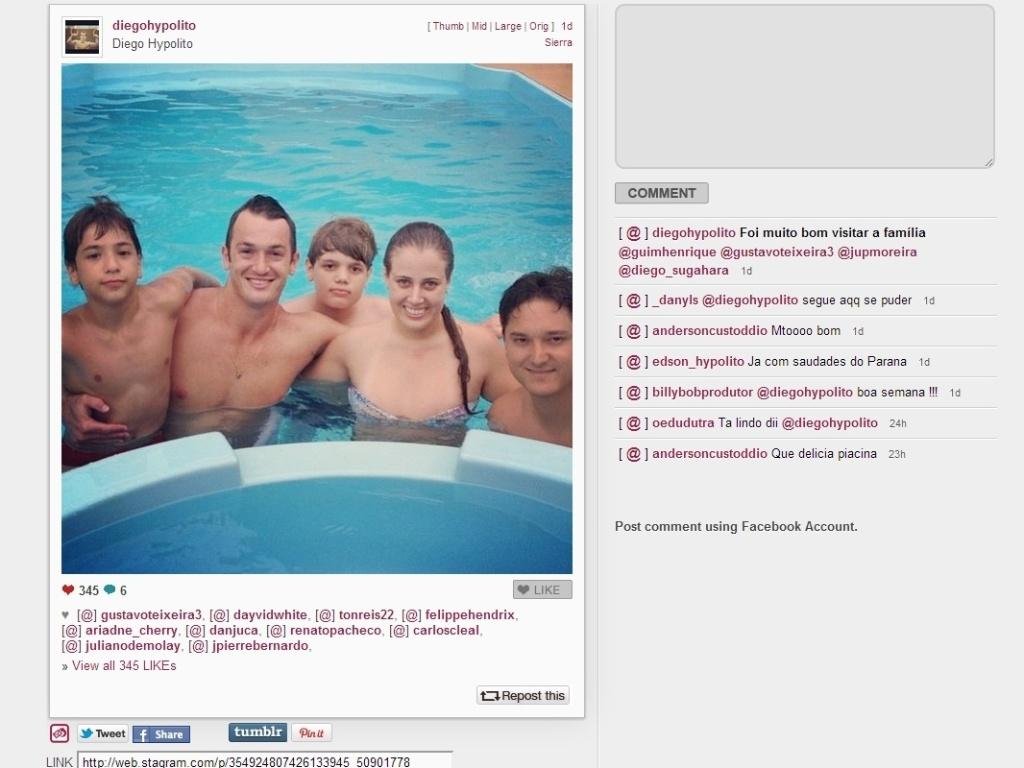Assumidamente festeiro, Diego Hypolito também teve seus momentos em família nas férias, inclusive este em que aparece relaxando na piscina