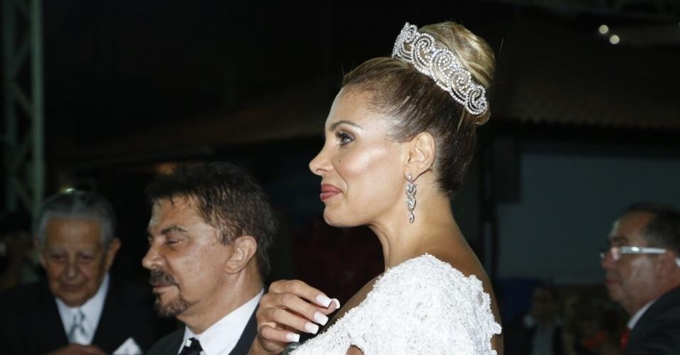29.dez.2012 - Wagner de Moraes e Ângela Bismarchi durante casamento no Rio
