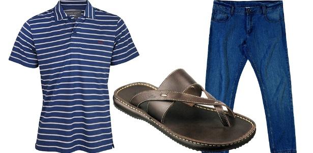 Chinelos em couro são mais casuais do que os de borracha e podem ser usados com calça jeans para ir a bares, cinemas e festas informais
