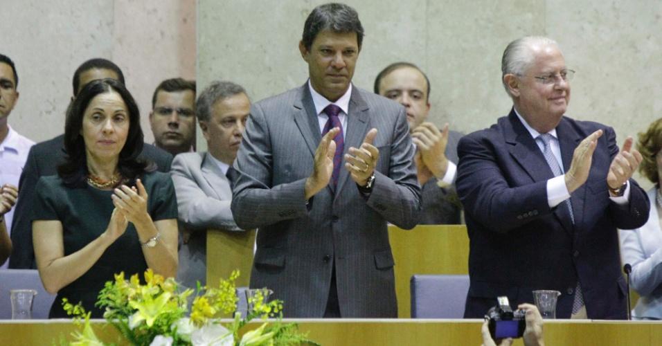 1º.jan.2012 - O prefeito eleito de São Paulo, Fernando Haddad (PT), toma posse na Câmara Municipal