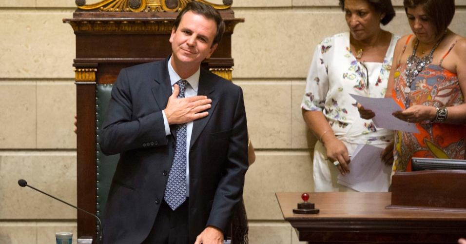 1º.jan.2013 - O prefeito reeleito do Rio de Janeiro, Eduardo Paes (PMDB), toma posse na Câmara Municipal