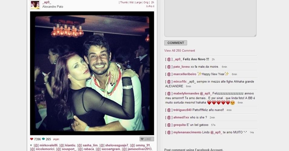 Alexandre Pato, na mira do Corinthians, reatou o namoro com Barbara Berlusconi e postou uma foto de