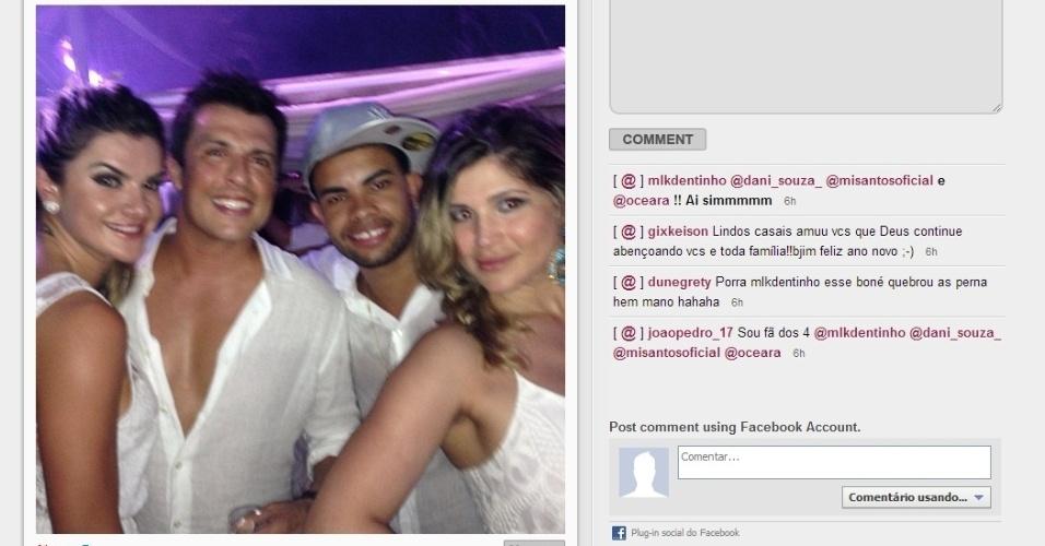 Dentinho e sua esposa Dani Souza comemoraram o ano-novo ao lado do humorista do Pânico, Ceará, e postaram o encontro no Instagram
