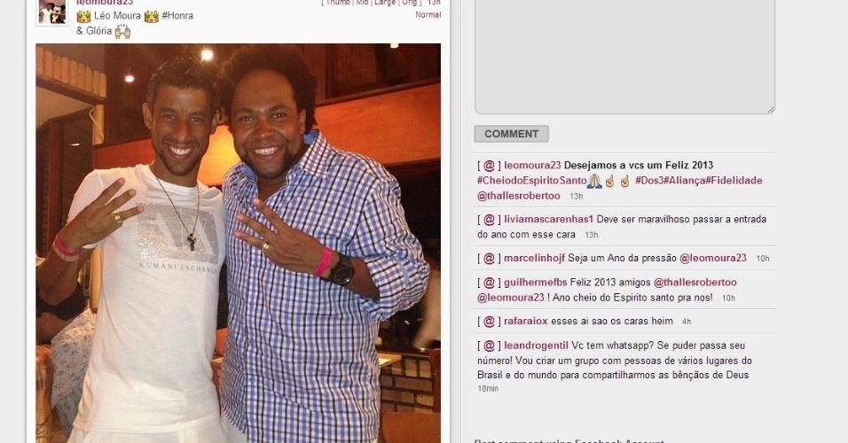 Léo Moura comemorou a virada de ano com amigos e divulgou imagem no Instagram