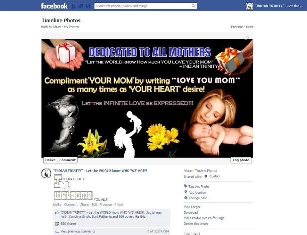 2.jan.2012 - No dia 17 de dezembro de 2012 foi estabelecido o recorde do item mais comentado no Facebook até a data. Com 3.446.101, o post foi publicado no dia 7 de abril de 2012 pela página Indian Trinity
