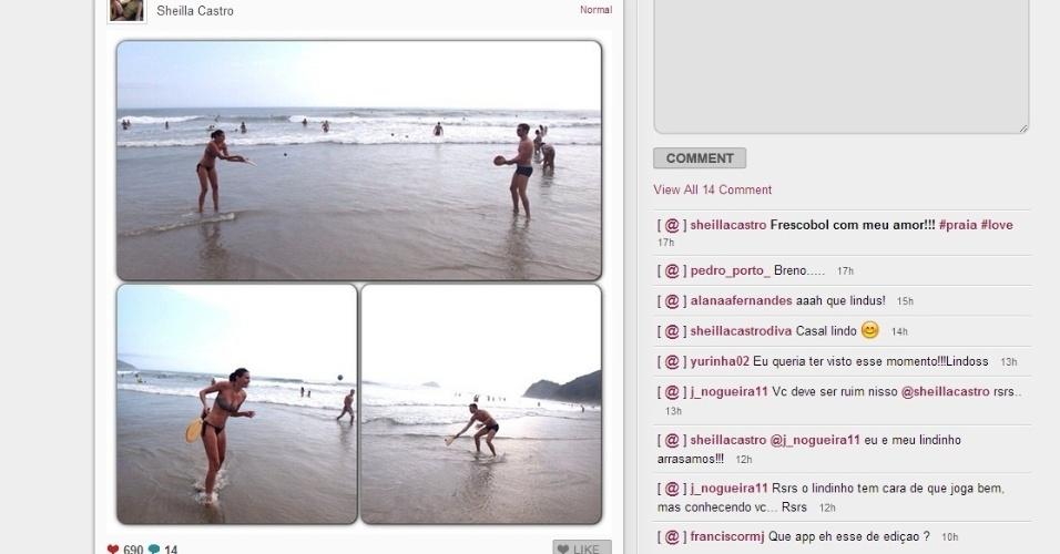 02.jan.2013 - Sheilla, do vôlei, joga tamboréu ao lado do namorado em praia durante suas férias
