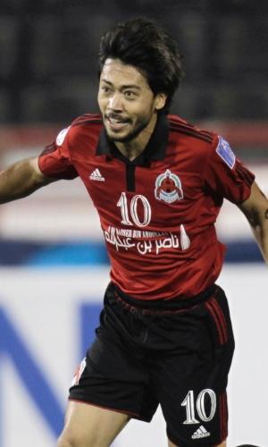 03.abr.2012 - Rodrigo Tabata (esq) e Afonso Alves comemoram gol do Al-Rayyan, do Qatar, durante partida contra o  Nasaf Qarshi, do Uzbequistão, pela Liga dos Campeões da Ásia