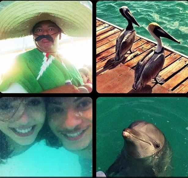 O casal de atores Giovanna Lancellotti e Arthur Aguiar se divertem em Cancún, no México