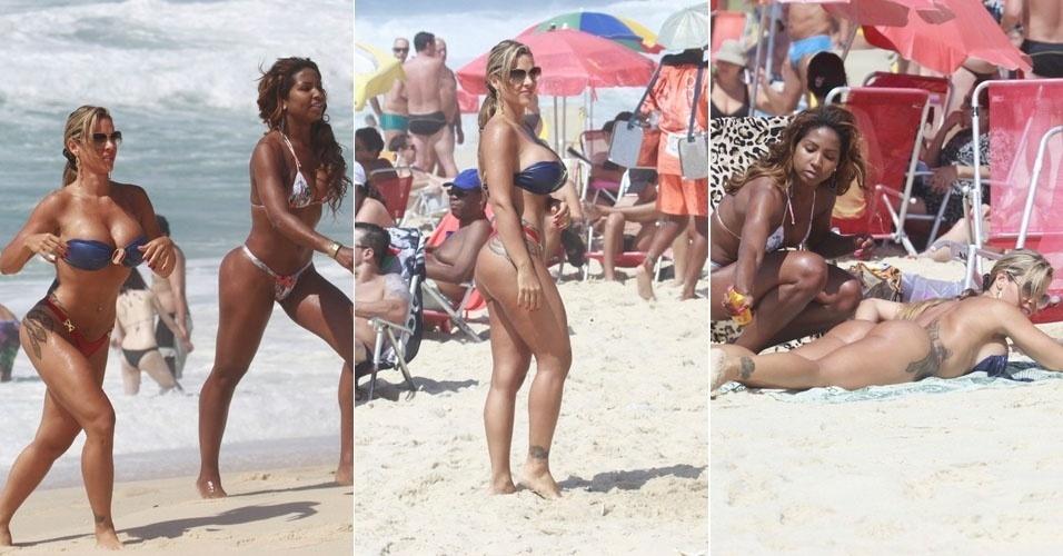 5.jan. 2013- Denise Rocha, o Furacão da CPI, curte a praia do Recreio dos Bandeirantes com sua professora de samba, Tuane Rocha