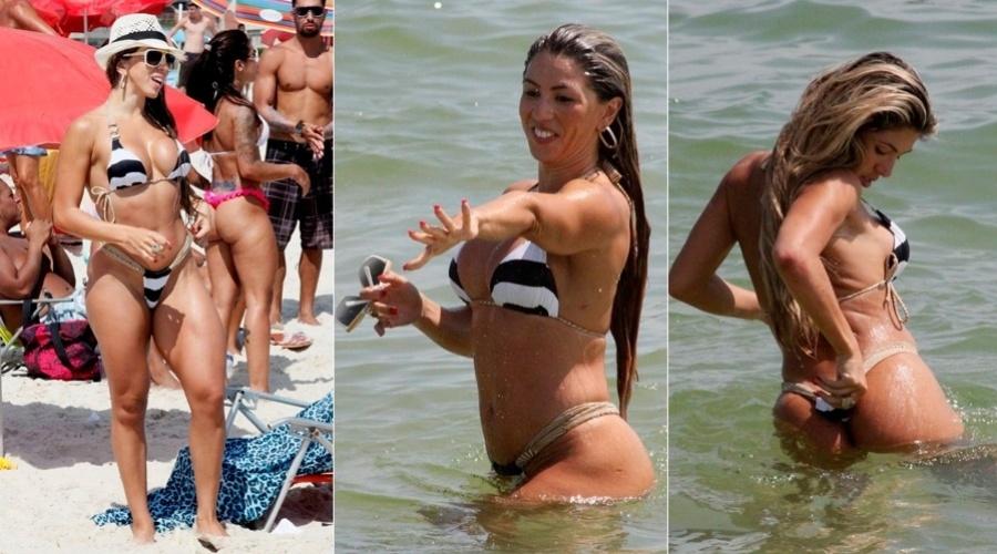 8.jan.2013 - Andrea de Andrade, madrinha da bateria da Império de Casa Verde, curtiu praia na Barra da Tijuca, zona oeste do Rio