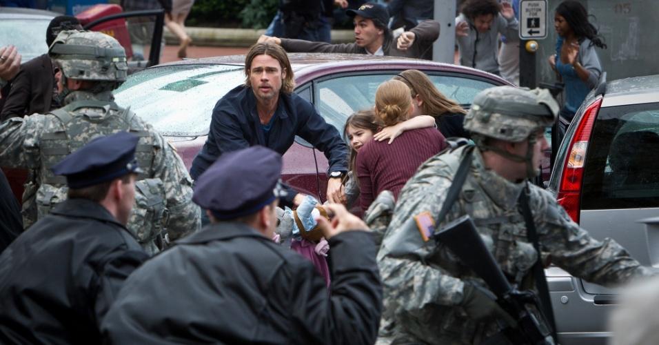 """10.jan.2013 - Cena do filme """"Guerra Mundial Z"""", estrelado por Brad Pitt e baseado em obra homônima de Max Brooks"""