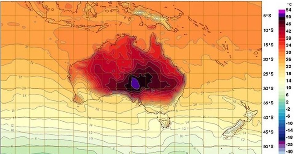 9.jan.2013 - O instituto de metereologia da Austrália (Bureau of Metereology) teve de adicionar novas cores nos seus gráficos de previsão para diferenciar as temperaturas que passam dos 50 graus Celsius. Com a inclusão do roxo e do rosa, o índice de temperatura do órgão passa a registrar o extremo de 54º C. O país está enfrentando uma onda de calor histórica em seu verão, que já foi responsável por cem incêndios florestais