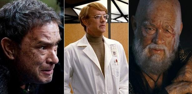Três dos seis personagens interpretados por Tom Hanks em
