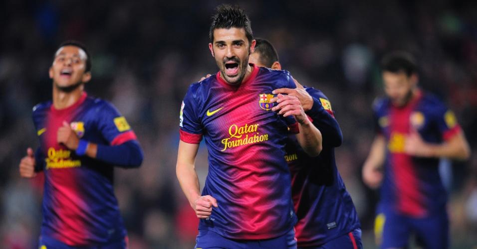 10.jan.2013 - David Villa comemora o segundo gol do Barcelona na vitória por 5 a 0 sobre o Cordoba, pela Copa do Rei