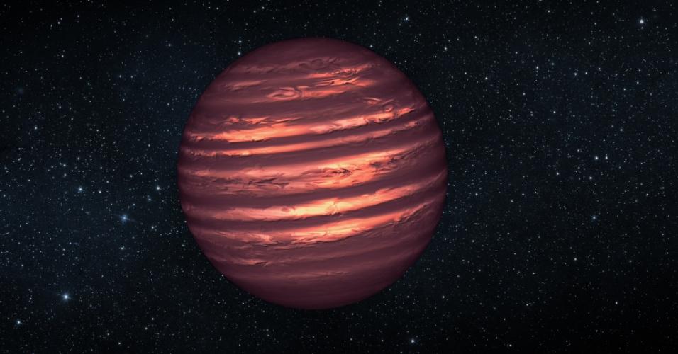 10.jan.2013 - Esta concepção artística ilustra a anã marrom chamada 2MASSJ22282889-431026. Os telescópios espaciais Hubble e Spitzer da Nasa observaram o objeto para saber mais sobre a sua atmosfera turbulenta. Anãs marrons são mais maciças e mais quente do que planetas, mas carecem da massa necessária para se tornar estrelas. Sua atmosfera pode ser semelhante a do planeta Júpiter, com nuvens que se movem com o vento do tamanho de planetas