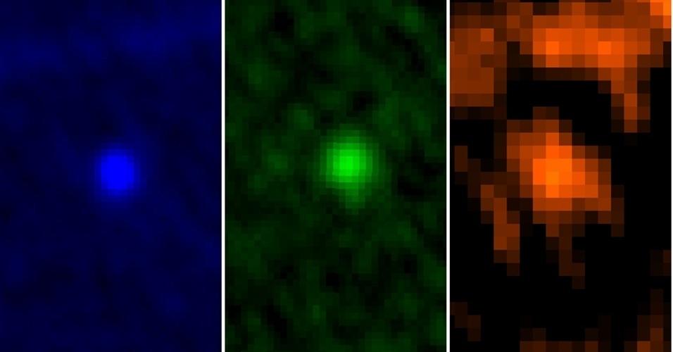 10.jan.2013 - O observatório Herschel, da Agência Espacial Europeia (ESA, na sigla em inglês), captou o asteroide Apophis durante a aproximação com a Terra entre os dias 5 e 6 de janeiro - as imagens coloridas distinguem os registros feitos em três comprimentos de ondas. Os astrônomos estão acompanhando a sua trajetória, pois há um pequeno risco de o Apophis colidir com a Terra em 2036