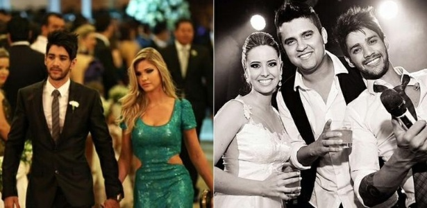 8.jan.2013 - Gusttavo Lima é padrinho em casamento de sertanejo Humberto ao lado da noiva, Andressa Suita