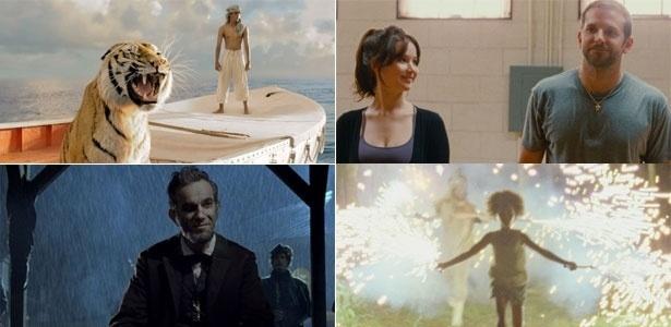 Começando do alto, à esq., em sentido horário: cenas de As Aventuras de Pi, O Lado Bom da Vida, Indomável Sonhadora e Lincoln, candidatos ao Oscar de melhor filme