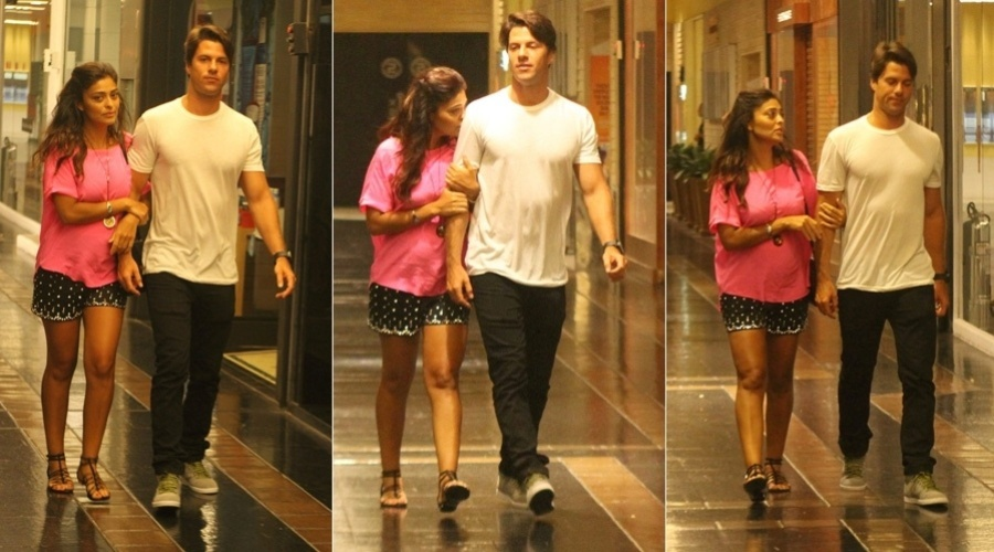10.jan.2013 - Grvida de trs meses, Juliana Paes passeou na noite desta quinta em um shopping da zona oeste do Rio. A atriz estava acompanhada do marido, Carlos Eduardo Baptista. O casal j  pai do menino Pedro