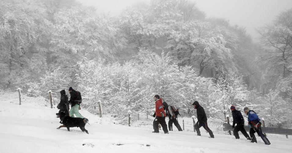 13.jan.2013 - Um grupo de pessoas sobe a montanha de Ibañeta, em Navarra, na Espanha, em meio à paisagem coberta de neve, neste domingo (13). A montanha localiza-se na cordilheira dos Pirineus, próximo à fronteira entre França e Espanha