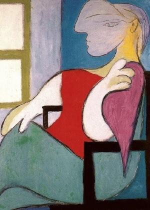 "A obra ""Femme assise pres d`une fenêtre"", de 1932, que retrara Marie-Thérese, a musa do pinto Pablo Picasso"
