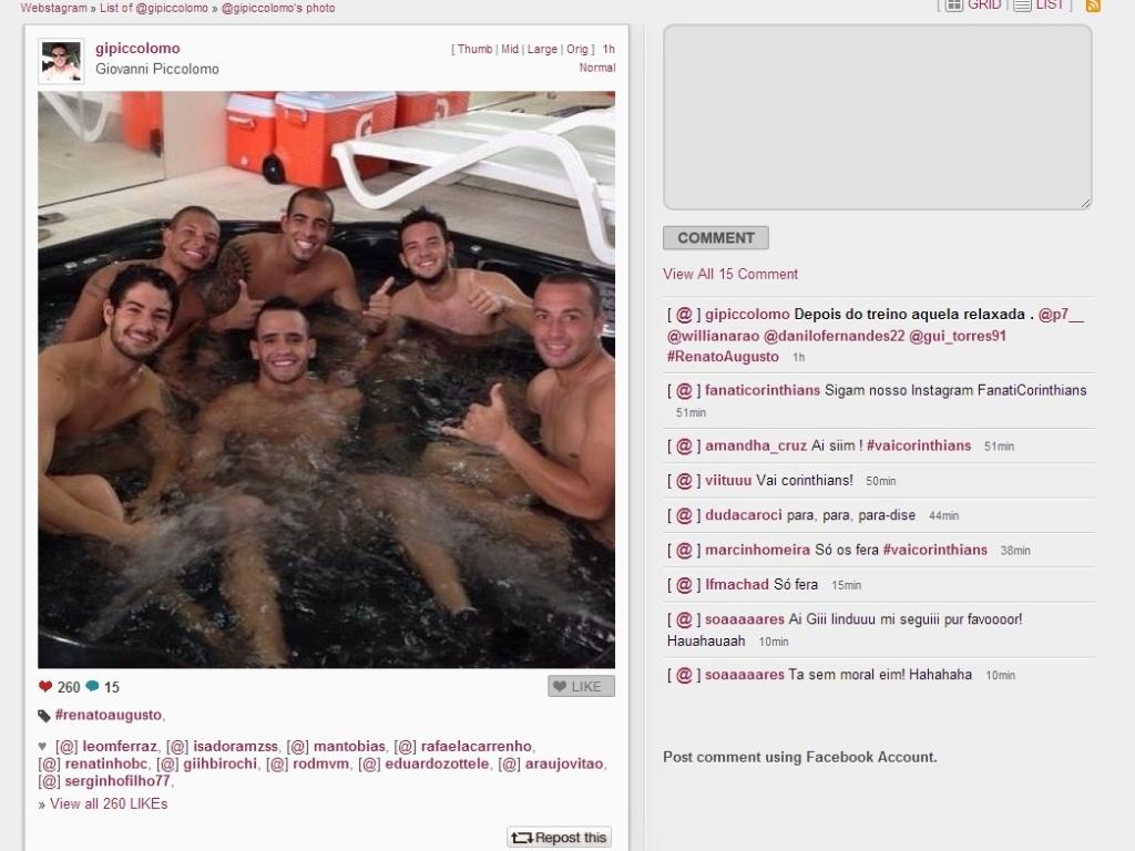Reprodução do Twitter do meia Giovanni, que registrou um momento de descanso na banheira de hidromassagem ao lado de Alexandre Pato, Renato Augusto e outros colegas
