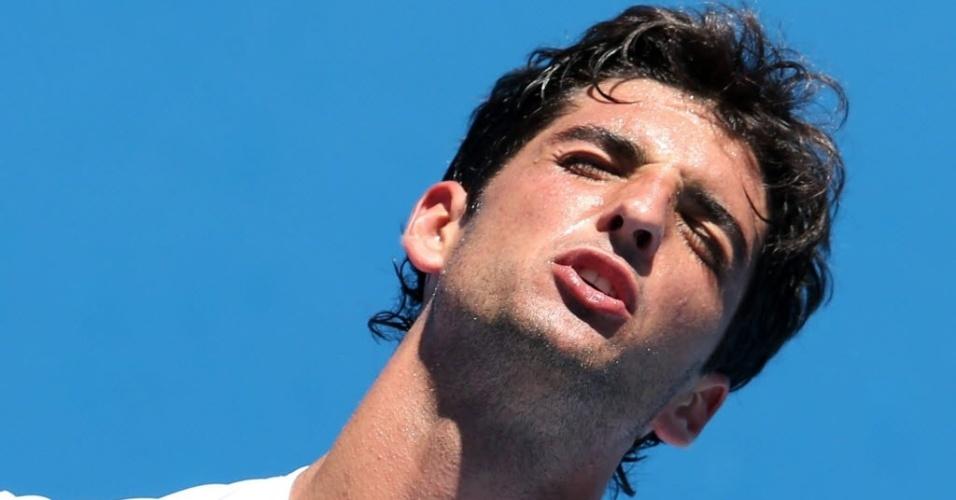 15.jan.2013 - Thomaz Bellucci lamenta ponto perdido em derrota na estreia do Aberto da Austrália