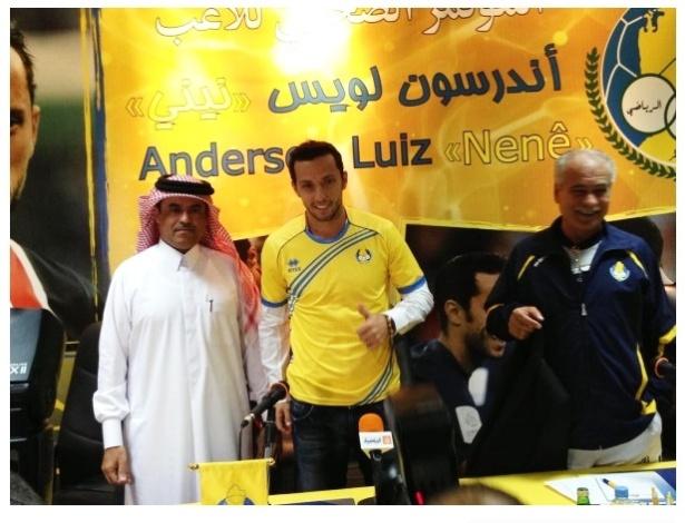 Atacante Nenê assina contrato de dois anos e meio e é apresentado pelo Al-Gharafa, do Catar