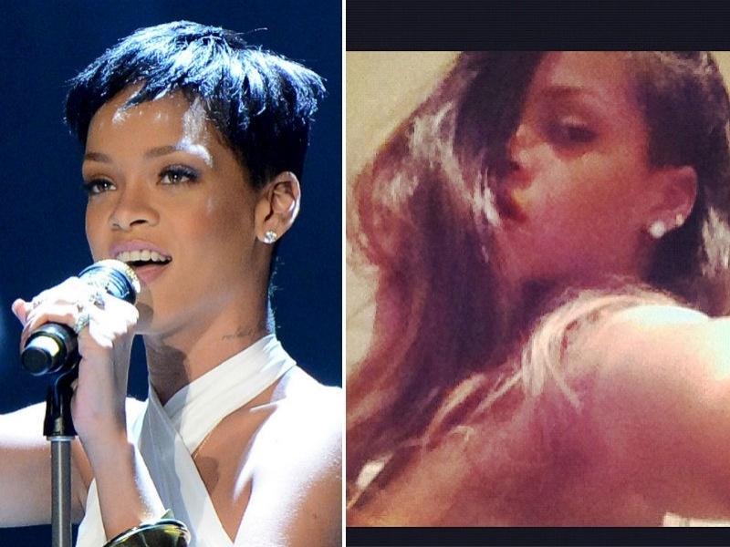 Rihanna com cabelos longos
