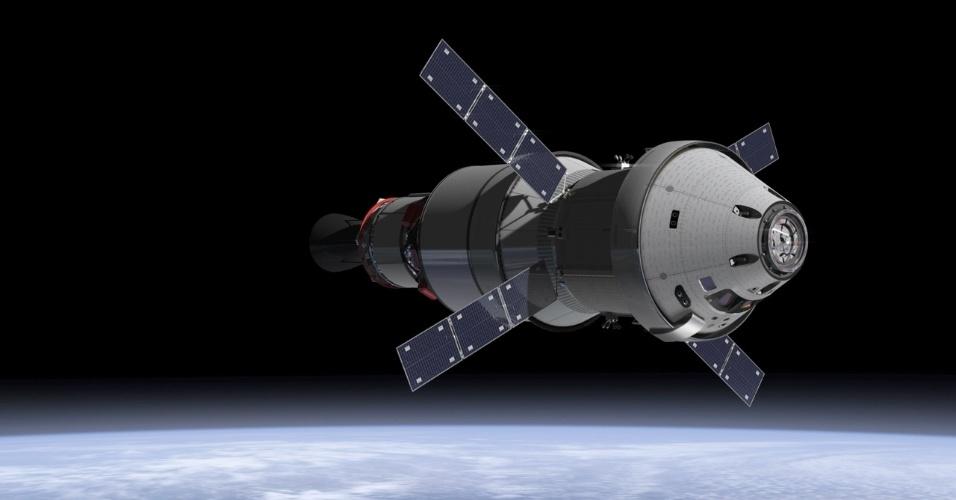 """16.jan.2013 - A Agência Espacial Europeia (ESA, na sigla em inglês) mostrou o módulo de serviço que vai alimentar e impulsionar a Orion, a nova cápsula tripulada da Nasa (Agência Espacial Norte-Americana). A espaçonave, que deve entrar em operação em 2017, foi desenvolvida para levar os astronautas com """"mais rapidez, segurança e para lugares mais distantes no Sistema Solar"""" do que as outras missões - atualmente, apenas o foguete russo Soyuz leva homens ao espaço"""