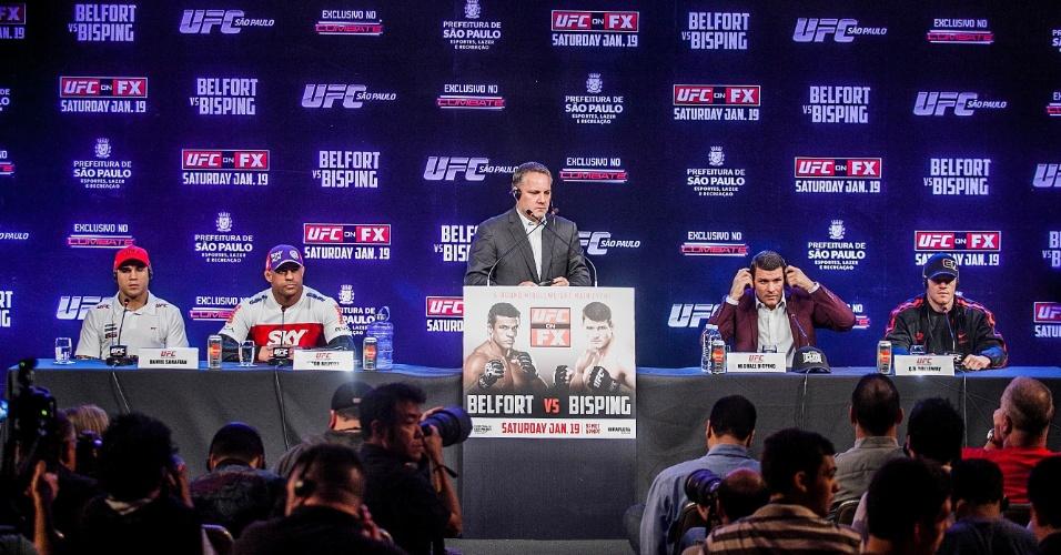 17.jan.2013 - Os principais lutadores do UFC SP dão entrevista coletiva em hotel na cidade